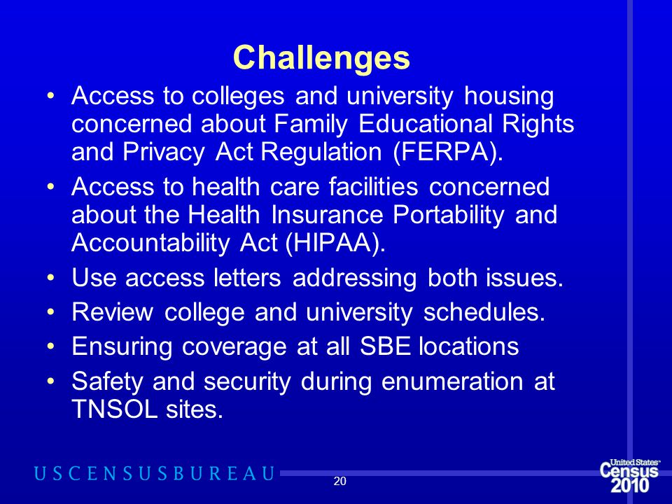 20 Challenges Access to colleges and university housing concerned about Family Educational Rights and Privacy Act Regulation (FERPA). Access to health