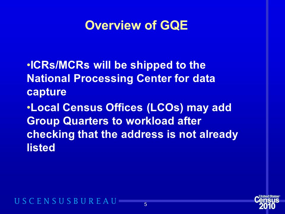 5 Overview of GQE ICRs/MCRs will be shipped to the National Processing Center for data capture Local Census Offices (LCOs) may add Group Quarters to w