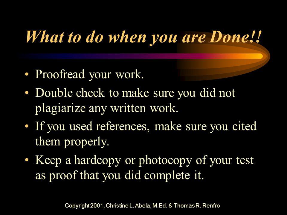 Copyright 2001, Christine L. Abela, M.Ed. & Thomas R.