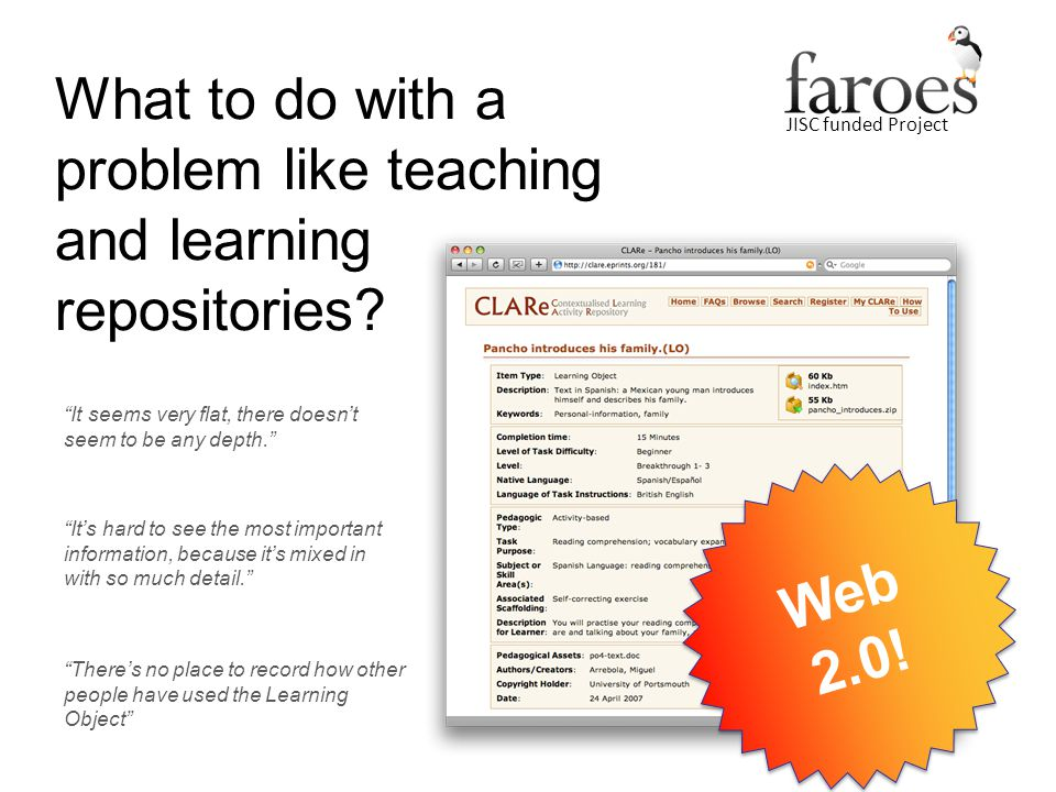 JISC funded Project What to do with a problem like teaching and learning repositories?