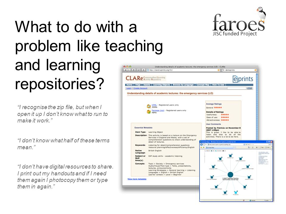 JISC funded Project What to do with a problem like teaching and learning repositories.