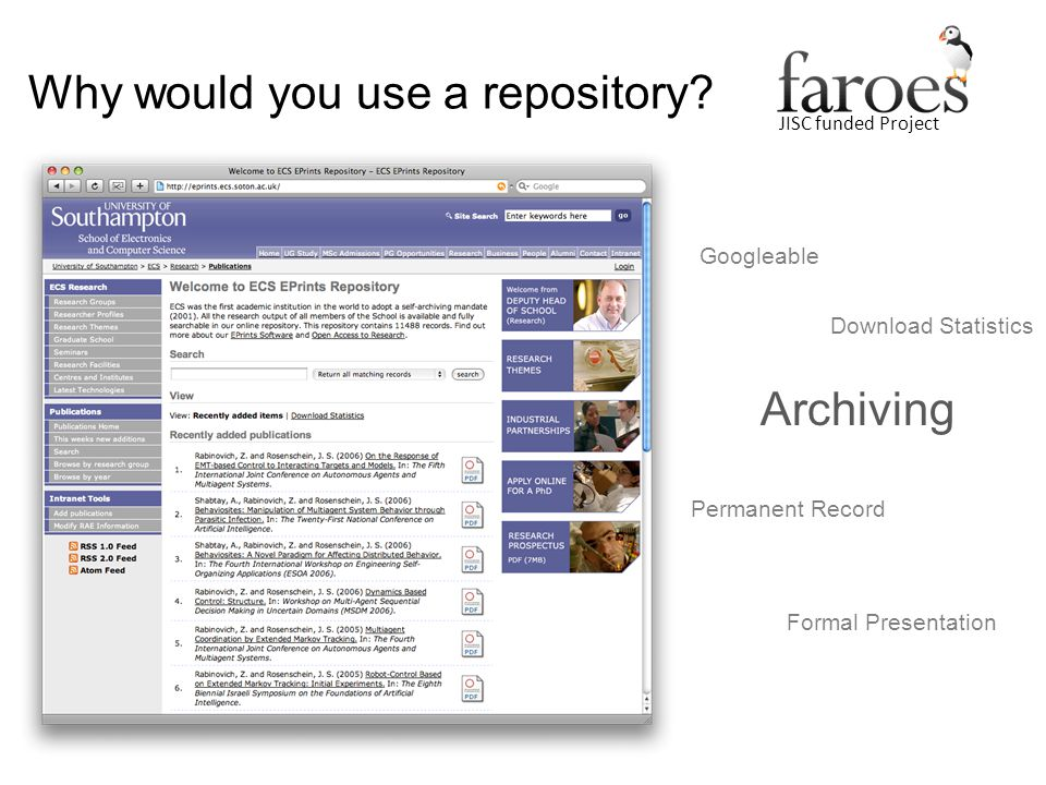 JISC funded Project Why would you use a repository.