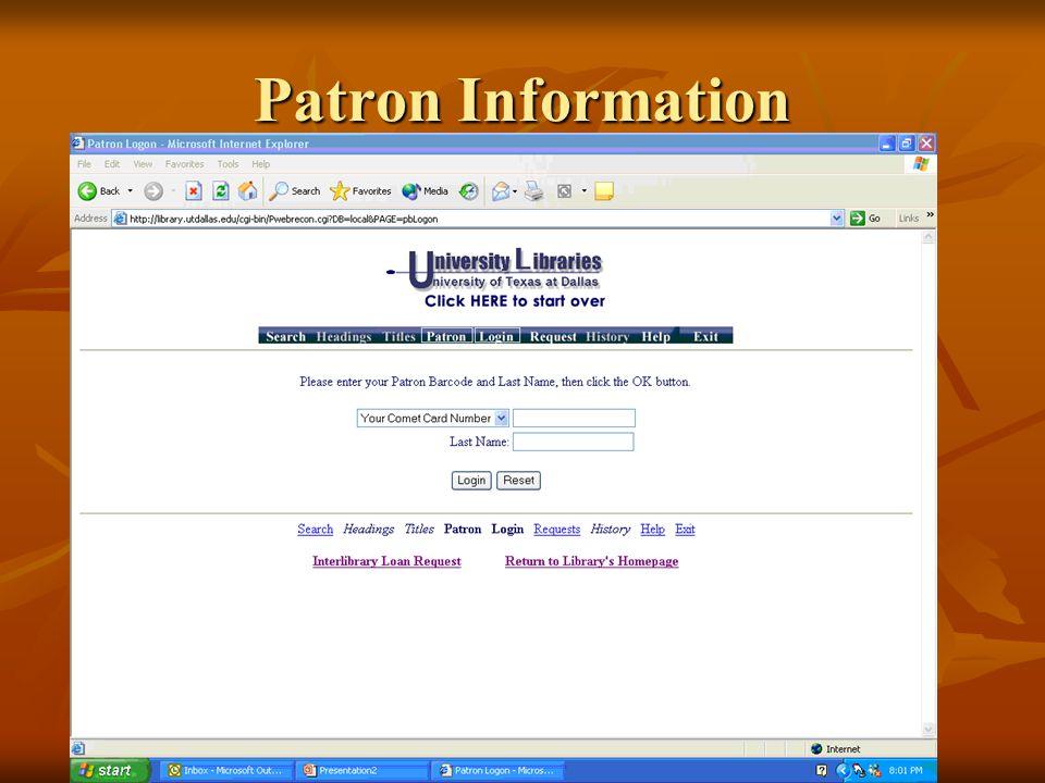 Patron Information