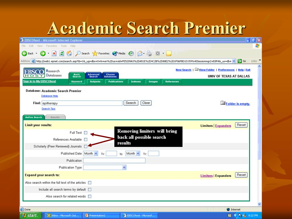 Academic Search Premier Removing limiters will bring back all possible search results