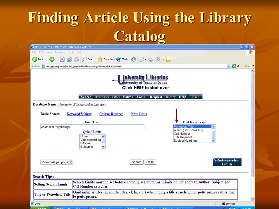Finding Article Using the Library Catalog