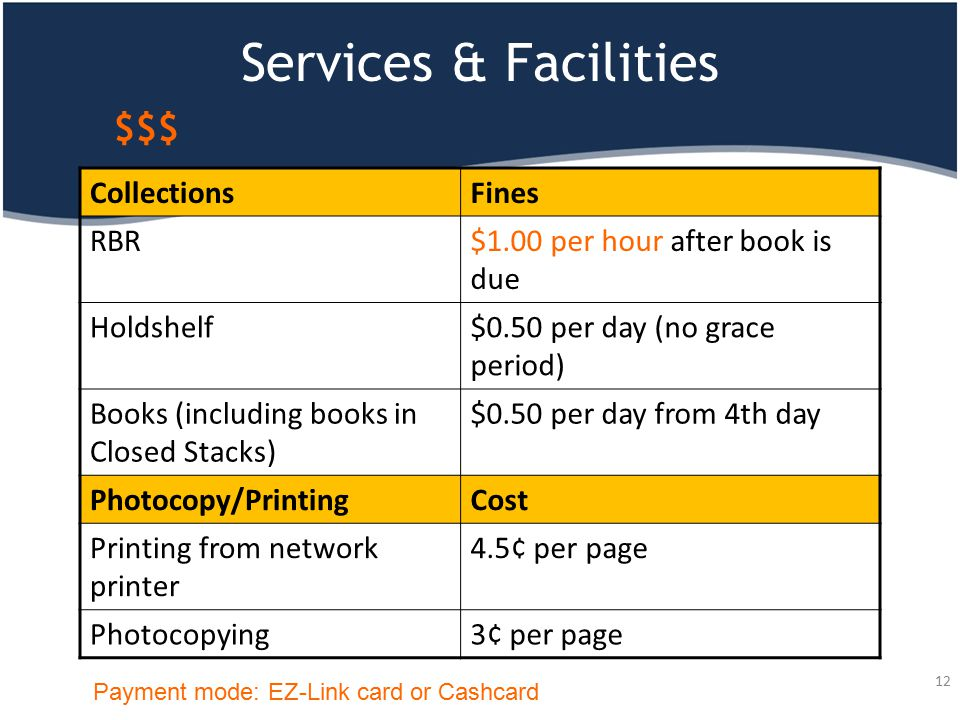 $$$ CollectionsFines RBR$1.00 per hour after book is due Holdshelf$0.50 per day (no grace period) Books (including books in Closed Stacks) $0.50 per d