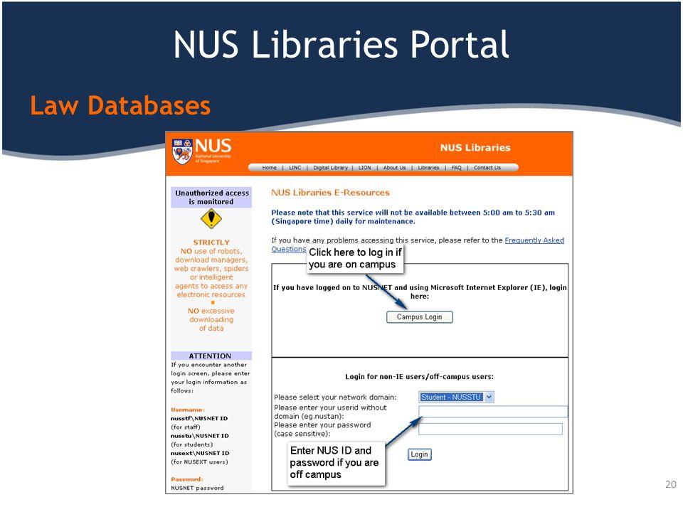 NUS Libraries Portal Law Databases 20