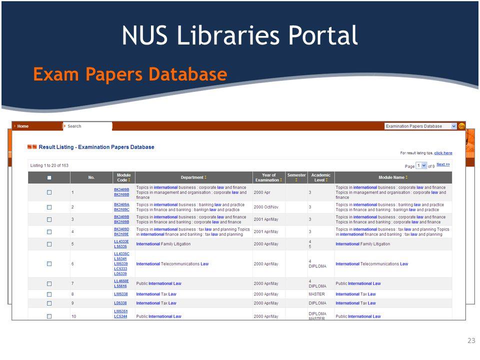 NUS Libraries Portal Exam Papers Database 23