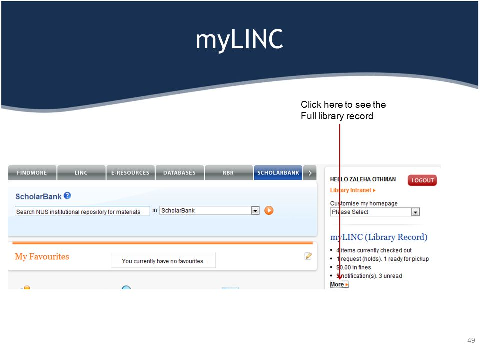 myLINC 49 Click here to see the Full library record