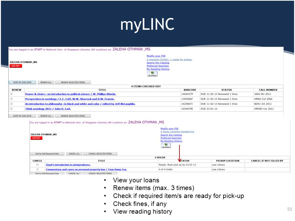 myLINC 51 View your loans Renew items (max. 3 times) Check if required item/s are ready for pick-up Check fines, if any View reading history