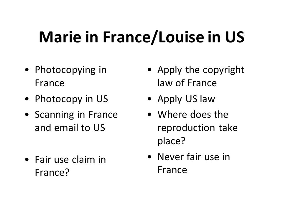 Marie in France/Louise in US Photocopying in France Photocopy in US Scanning in France and email to US Fair use claim in France.