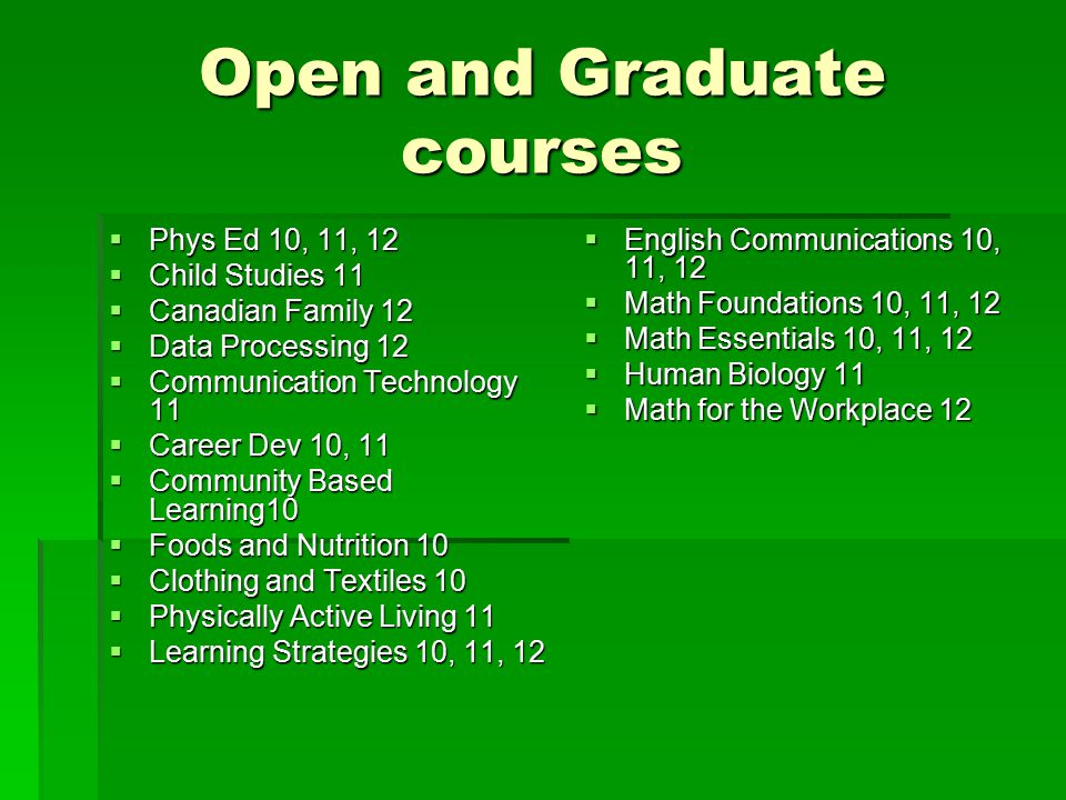 Open and Graduate courses  Phys Ed 10, 11, 12  Child Studies 11  Canadian Family 12  Data Processing 12  Communication Technology 11  Career Dev 10, 11  Community Based Learning10  Foods and Nutrition 10  Clothing and Textiles 10  Physically Active Living 11  Learning Strategies 10, 11, 12  English Communications 10, 11, 12  Math Foundations 10, 11, 12  Math Essentials 10, 11, 12  Human Biology 11  Math for the Workplace 12