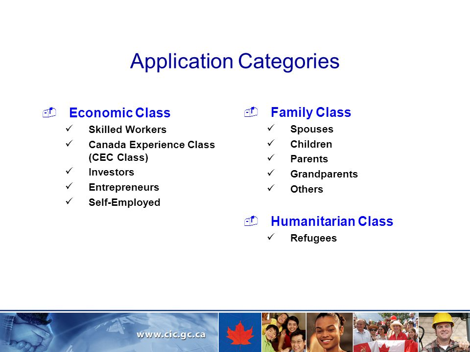 Application Categories  Economic Class Skilled Workers Canada Experience Class (CEC Class) Investors Entrepreneurs Self-Employed  Family Class Spouses Children Parents Grandparents Others  Humanitarian Class Refugees