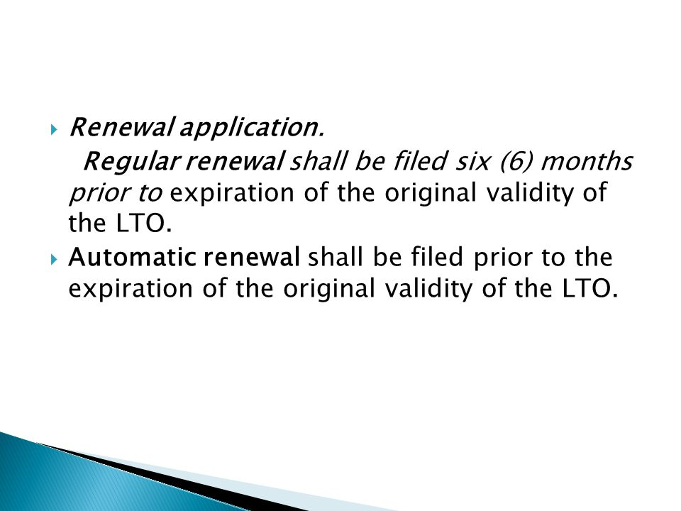  Renewal application.