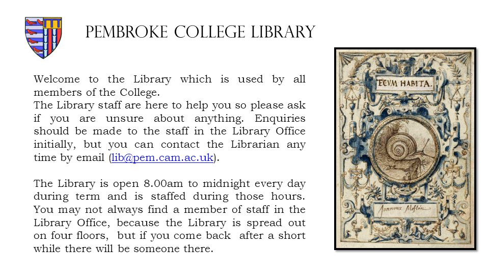 Welcome to the Library which is used by all members of the College.