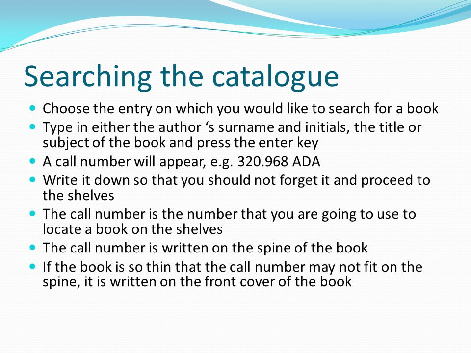Search the Library Catalogue by: AUTHOR TITLE SUBJECT (LC) MEDICAL subject WORDS in title CALL NUMBER AUTHOR/TITLE JOURNAL title RETURN TO MAIN MENU