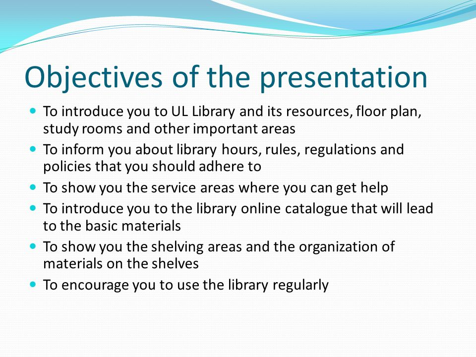 Library Orientation Presentation for the 2009 First entering students: 18th January – 22 January 2010