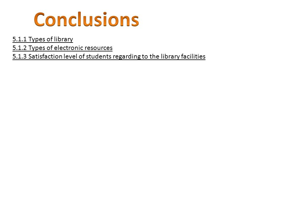 5.1.1 Types of library 5.1.2 Types of electronic resources 5.1.3 Satisfaction level of students regarding to the library facilities