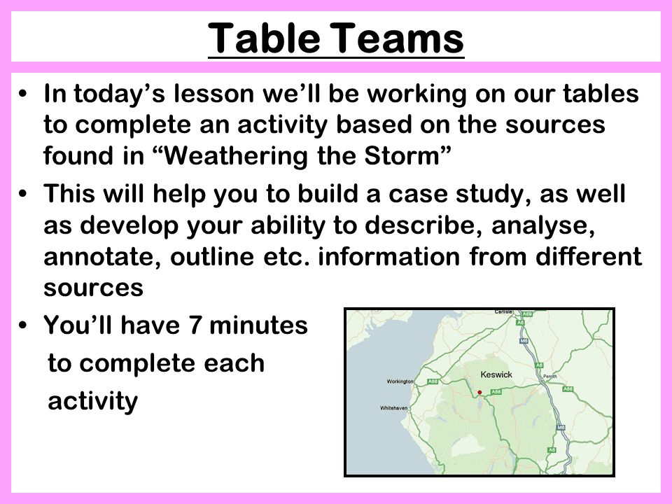 Table Teams In today's lesson we'll be working on our tables to complete an activity based on the sources found in Weathering the Storm This will help you to build a case study, as well as develop your ability to describe, analyse, annotate, outline etc.