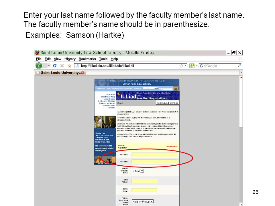 Enter your last name followed by the faculty member's last name.