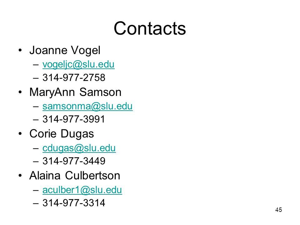 Contacts Joanne Vogel –vogeljc@slu.eduvogeljc@slu.edu –314-977-2758 MaryAnn Samson –samsonma@slu.edusamsonma@slu.edu –314-977-3991 Corie Dugas –cdugas@slu.educdugas@slu.edu –314-977-3449 Alaina Culbertson –aculber1@slu.eduaculber1@slu.edu –314-977-3314 45