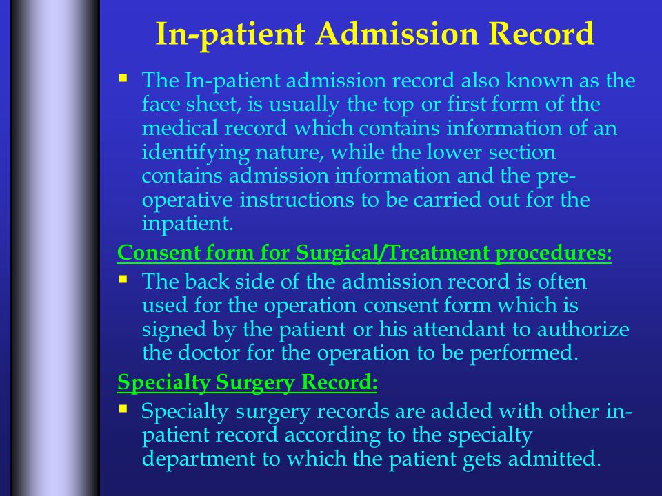 In-patient Admission Record Color Coding of Record Folders:  Color coding refers to the use of color on folders to aid in the prevention of misfiling and in the location of misfiled records.