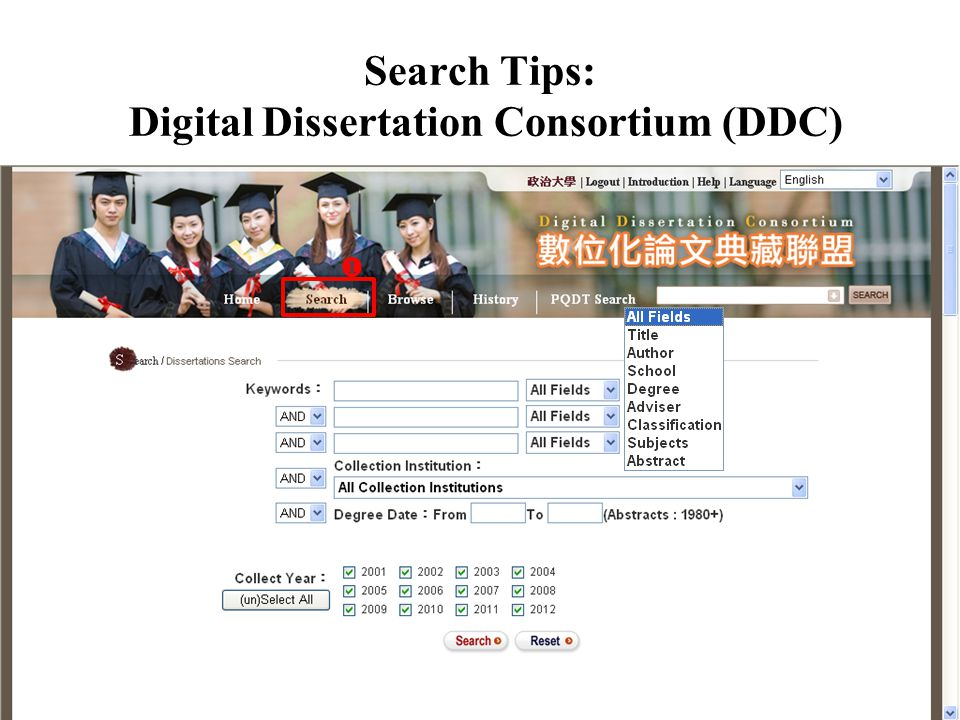 Search Tips: Digital Dissertation Consortium (DDC) 