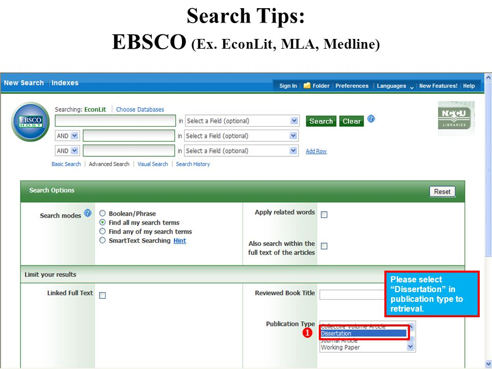 Search Tips: EBSCO (Ex.