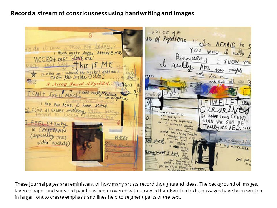 Record a stream of consciousness using handwriting and images These journal pages are reminiscent of how many artists record thoughts and ideas.
