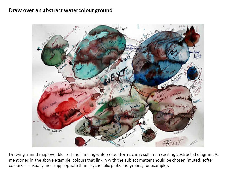 Draw over an abstract watercolour ground Drawing a mind map over blurred and running watercolour forms can result in an exciting abstracted diagram.