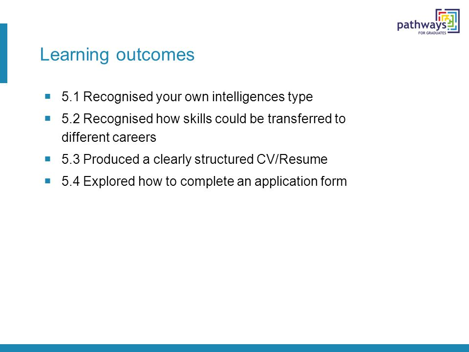 Learning outcomes  5.1 Recognised your own intelligences type  5.2 Recognised how skills could be transferred to different careers  5.3 Produced a clearly structured CV/Resume  5.4 Explored how to complete an application form