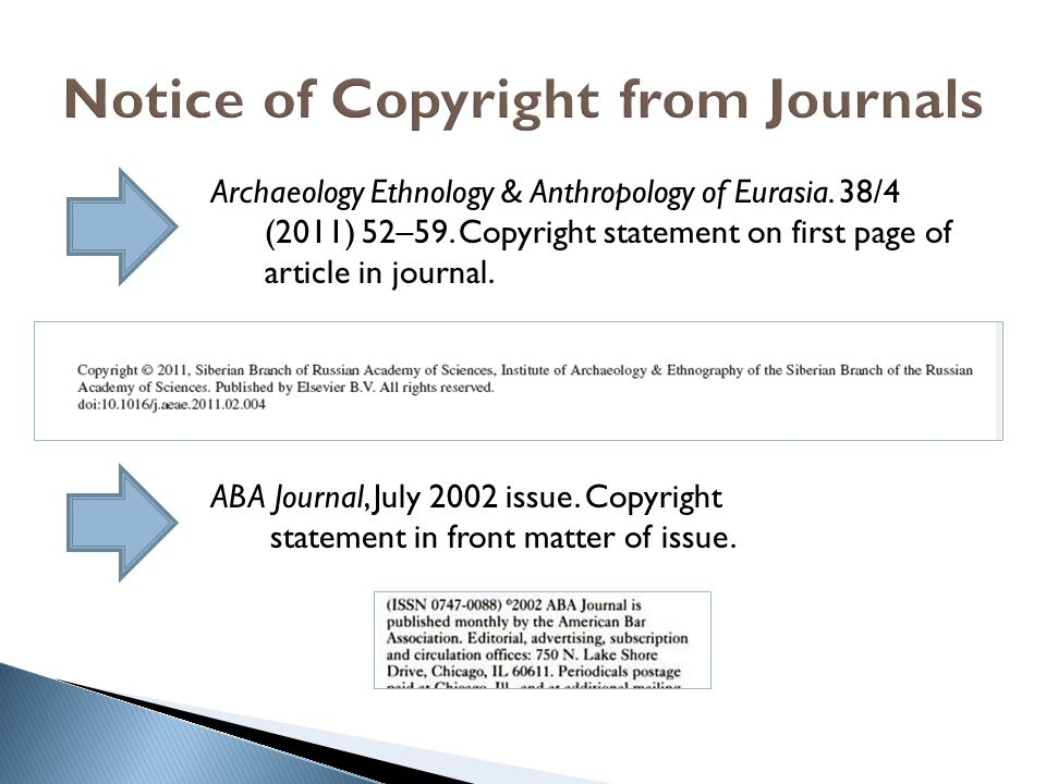 Notice of Copyright from Journals Archaeology Ethnology & Anthropology of Eurasia.