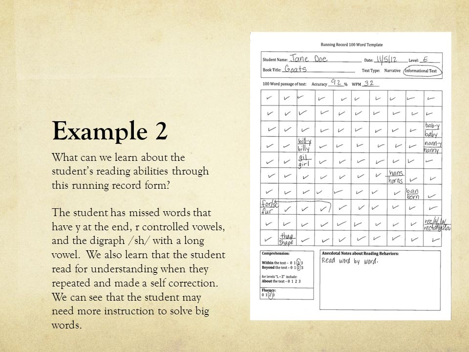 Example 2 What can we learn about the student's reading abilities through this running record form? The student has missed words that have y at the en