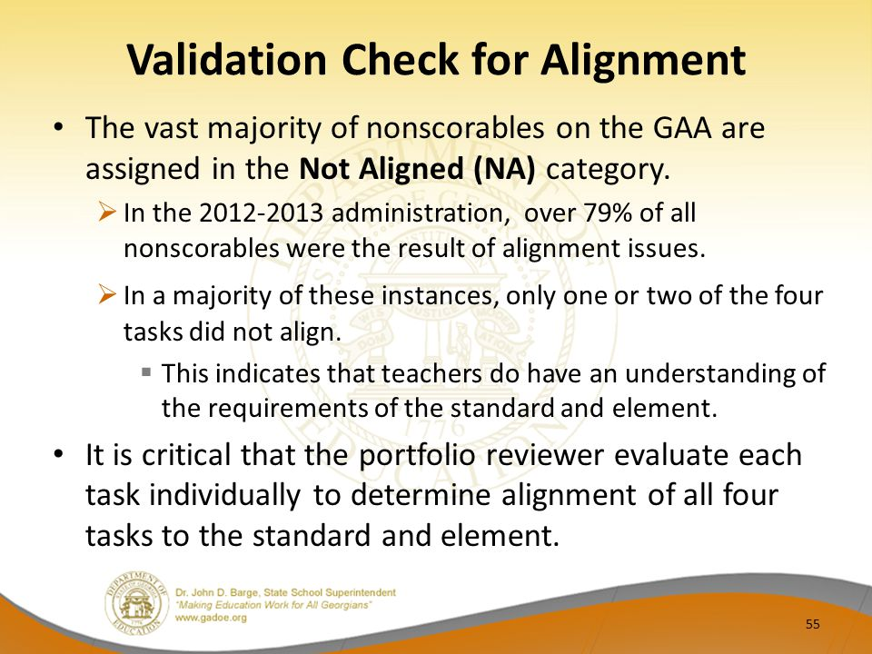 Validation Check for Alignment The vast majority of nonscorables on the GAA are assigned in the Not Aligned (NA) category.