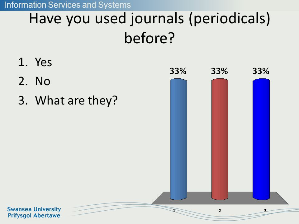 Information Services and Systems Have you used journals (periodicals) before.