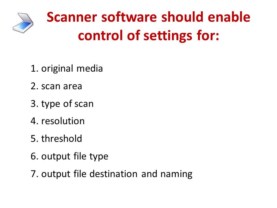 """How a scanner works 1.Divides the image into a grid of small areas called """"dots"""" (resolution or fine-ness is expressed in """"dots per inch"""" or """"dpi""""). 2"""