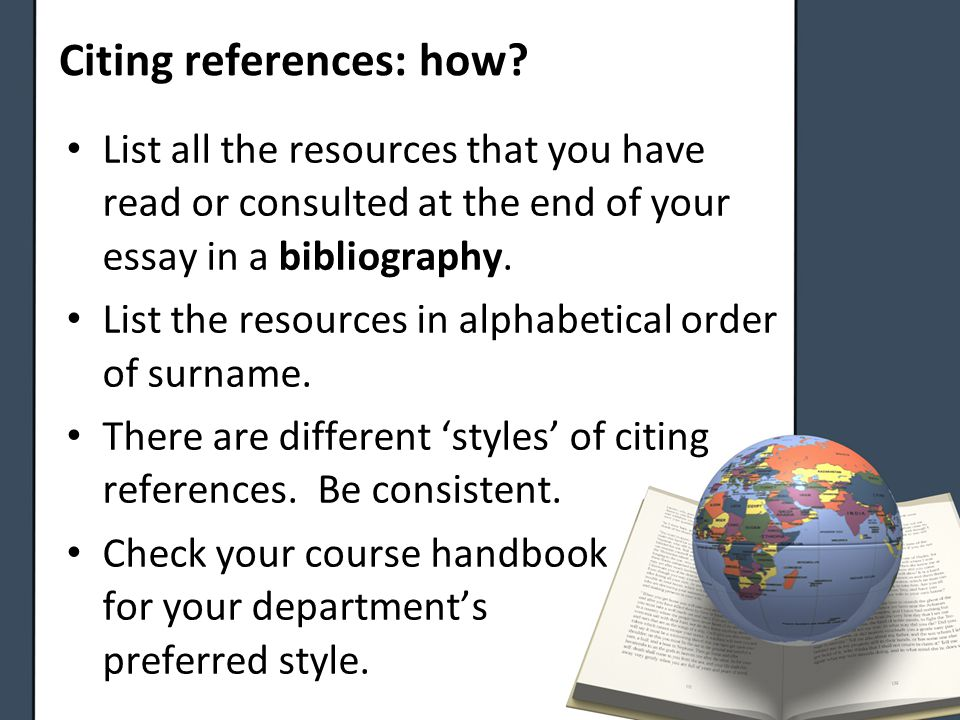 Citing references: how.
