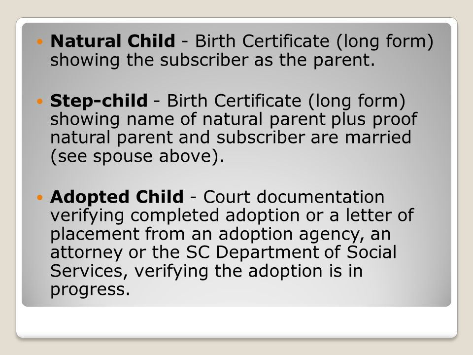Natural Child - Birth Certificate (long form) showing the subscriber as the parent.