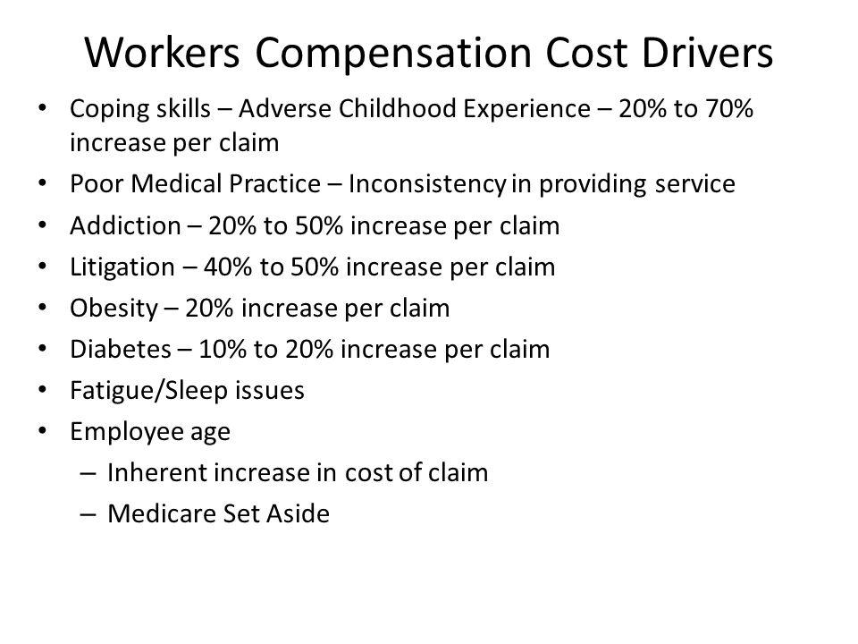 Top WC Cost Drivers Litigation (Prescription) Opiates Multiple Body Parts Hospitalizations Obesity Liens
