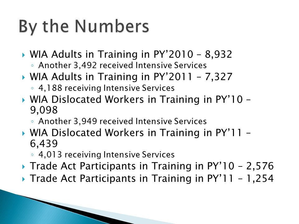  WIA Adults in Training in PY'2010 – 8,932 ◦ Another 3,492 received Intensive Services  WIA Adults in Training in PY'2011 – 7,327 ◦ 4,188 receiving