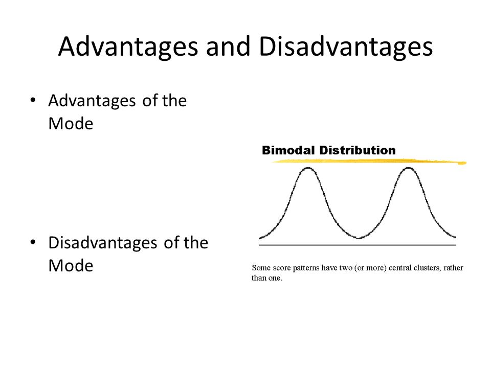 Advantages and Disadvantages Advantages of the Mode Disadvantages of the Mode