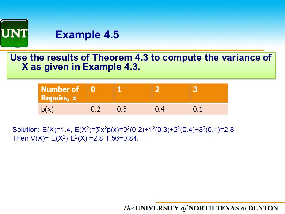 The UNIVERSITY of NORTH CAROLINA at CHAPEL HILL Use the results of Theorem 4.3 to compute the variance of X as given in Example 4.3.