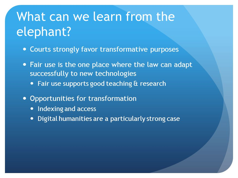 What can we learn from the elephant.