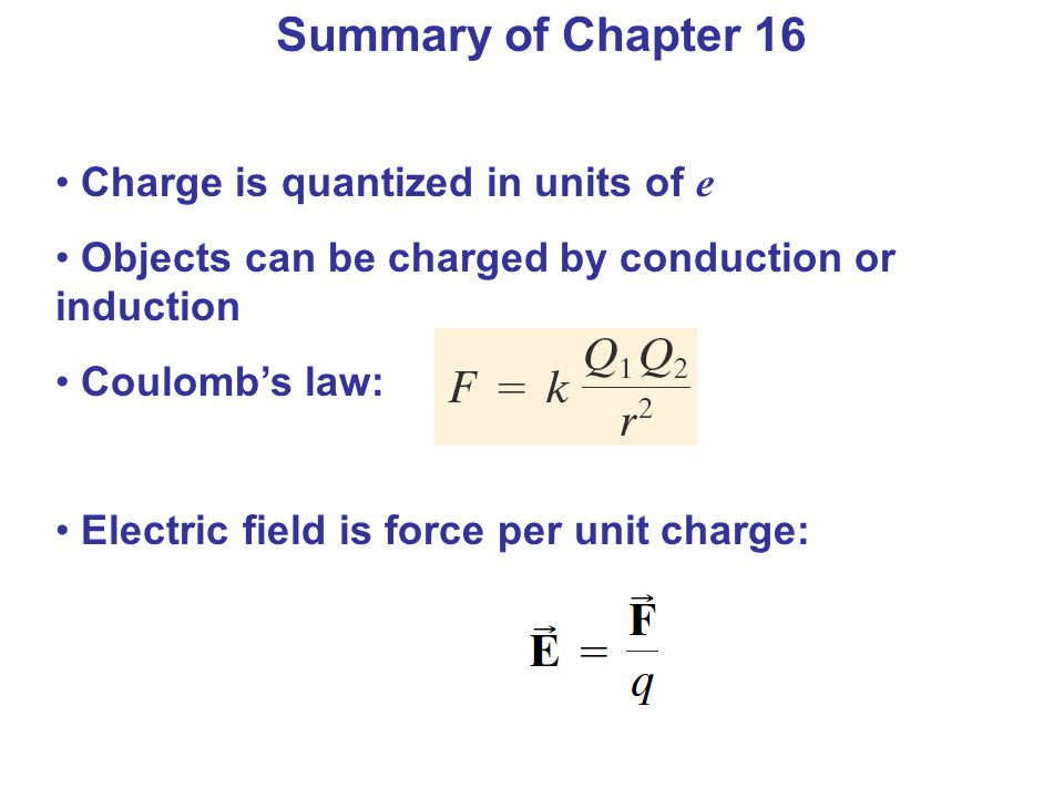 Charge is quantized in units of e Objects can be charged by conduction or induction Coulomb's law: Electric field is force per unit charge: