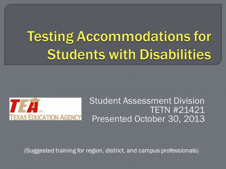  This accommodation provides a student with a disability with various types of spelling assistance, including (but not limited to) frequently misspelled word list spell check function on a word processor speech-to-text software  Any student receiving special education or Section 504 services can receive this accommodation for written compositions and short answer reading questions if he/she meets the eligibility criteria.