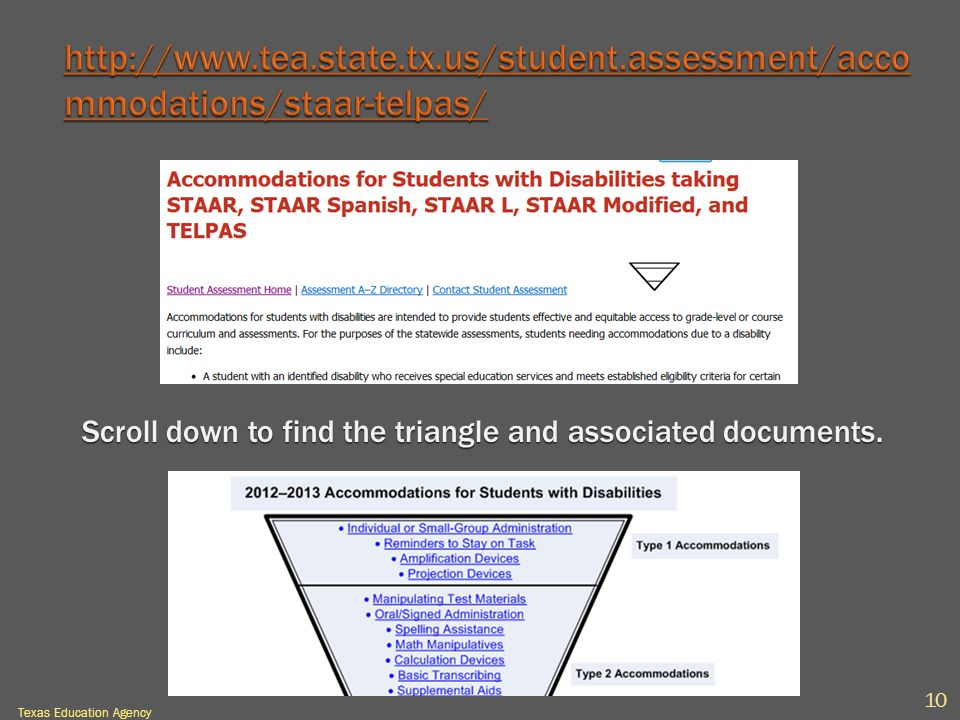 Scroll down to find the triangle and associated documents. 10 Texas Education Agency
