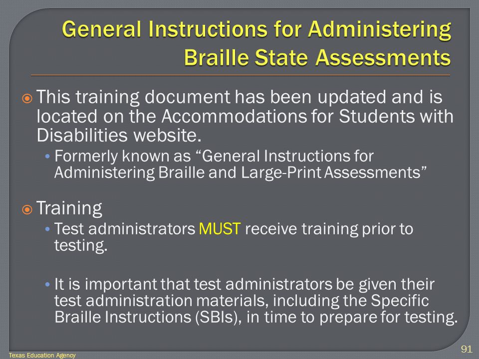  This training document has been updated and is located on the Accommodations for Students with Disabilities website.