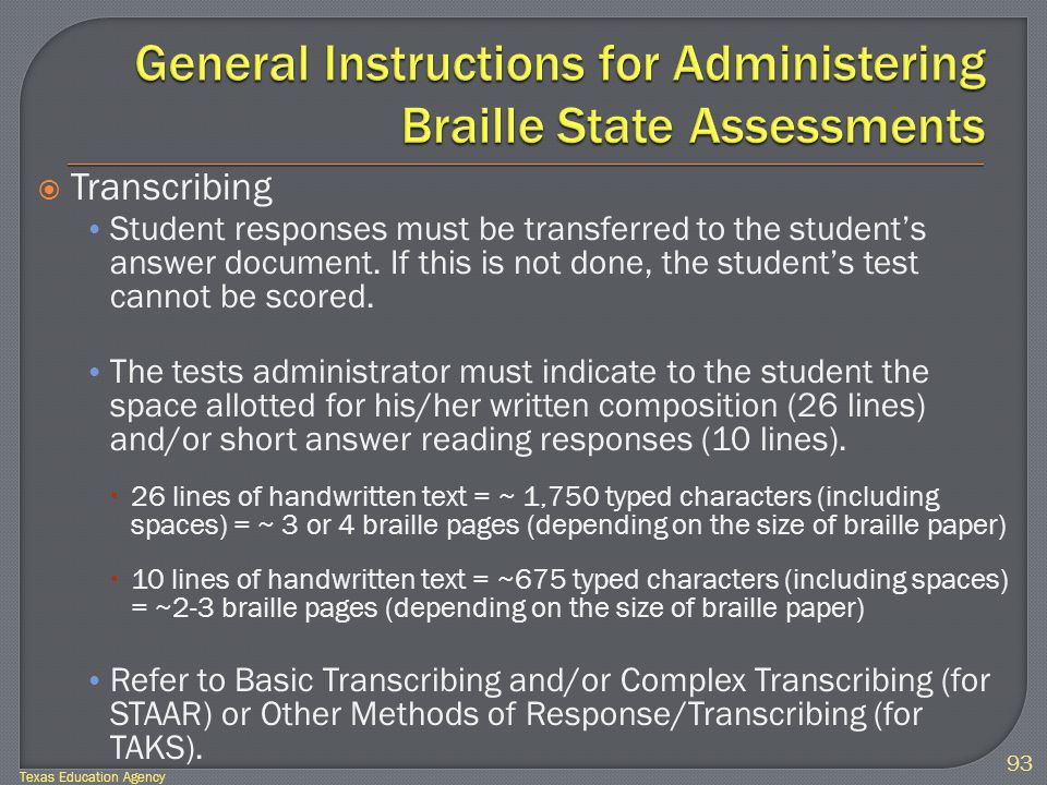  Transcribing Student responses must be transferred to the student's answer document.