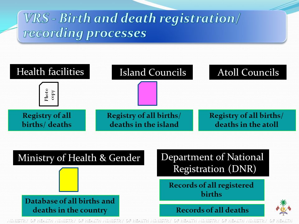 Island Councils Health facilities Atoll Councils Database of all births and deaths in the country Registry of all births/ deaths Photo copy Registry o