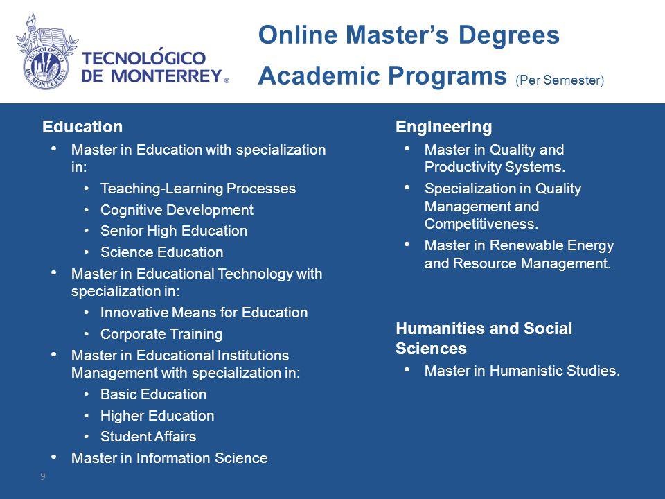 Alumni Profile Each of our online master's degrees has a unique graduate profile.